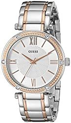 Guess Women's Stainless Steel Two-tone Casual Watch, Color: Silver-tonerose Gold-tone (Model: U0636l1)