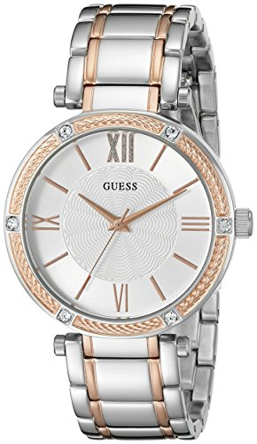 GUESS-Womens-U0636L1-Dressy-Rose-Gold-Tone-Watch-with-Textured-Silver-Dial-and-Stainless-Steel-Pilot-Buckle