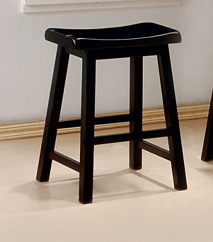 24-inch Wooden Counter Stools Black (Set of 2)