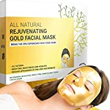 Gold Face Sheet Masks - Collagen Facial Masks for Anti Aging, Moisturizing, Wrinkles & Dark Circles Treatment - Made with Hydrogel, Hyaluronic Acid & 24K Nano Gold - Formulated in San Francisco
