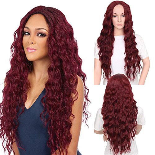 Price comparison product image ZingSilky Synthetic Brown Red Black Heat Resistant Hair Water Wave Wigs for Women Red hair (30inch, Wine red)