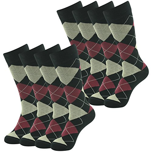 Groomsmen Wedding Dress, SUTTOS Mens Womens Classics Argyle Nordic Lattice Fashion Patterned Premium Cotton Blend Comfortable Argyle Socks Casual School Uniforms Socks Men Crew Socks,8 Pairs ()
