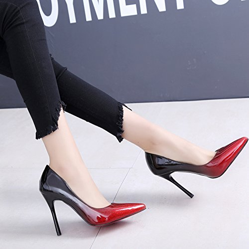 KPHY Shallow Fine Color Sharp gules Store Heels Shoes Spring Autumn Shoes Sexy Heels And Women Crystal Women Night Single High rzvqZrB4xn