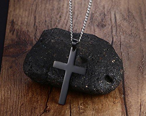 vnox simple Vierge–Collier Femme–Pendentif croix en acier inoxydable pour homme et femme, Noir, sans chaîne 60cm Cuban
