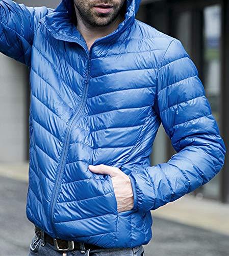 Veste Légère Ultra Bleu Doudoune Royal Zippée Hiver Avec Epaisse Capuche Homme Chaud xfU5O