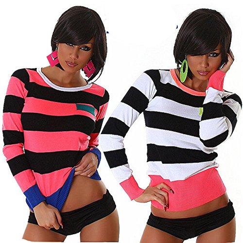 IL BAZAR - Camiseta de manga larga - Rayas - Manga larga - para mujer blanco-negro