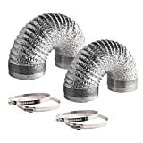 8 insulated hvac ducting - VIVOSUN 2-Pack 6 Inch 8 Feet Non-Insulated Flex Air Aluminum Ducting for HVAC Ventilation, 4 Clamps Included