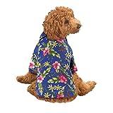 Collections Etc Dog Hawaiian Shirt Summer Short Sleeve Polo Luau Pet Costume, Blue, Large