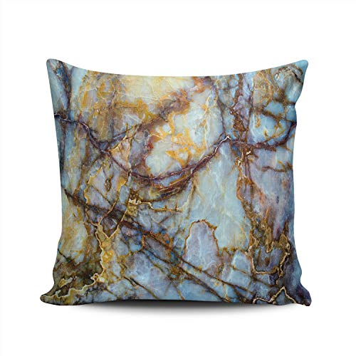 Hoooottle Custom Texture Stone Marble Onyx Granite Decorative Pillowcase Throw Pillow Case Cover Zippered Square Double Side Printed 16x16 ()