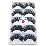 5 Pairs/Box 3D Real Mink False Eyelashes LASGOOS 100% Siberian Mink Fur Luxurious Soft Cross Thick Very Long Fluffy Party Dance Fake Eye Lashes SK02