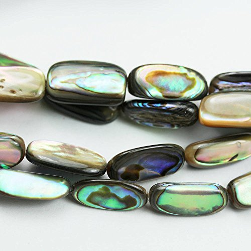 (One Full Strand 14x7mm Natural Abalone Shell Beads, Peacock Shell Color, Nugget Shape, 16