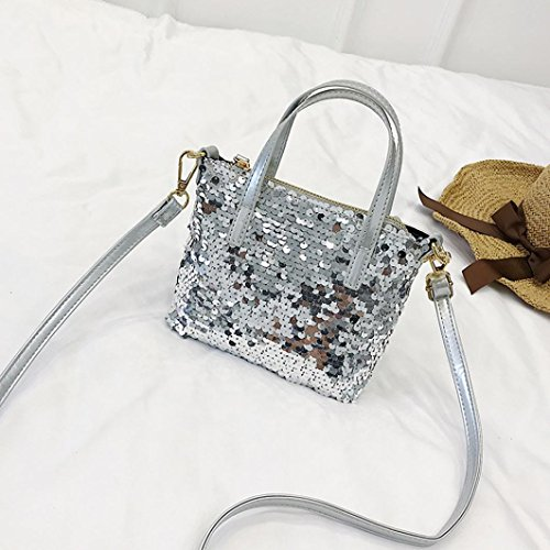 Glitter Silver Bag Handbags Sparkling Girls Shoulder Crossbody Hit Silver Tote Bag Bags Color Small Sequins Janly C6gXwq4C