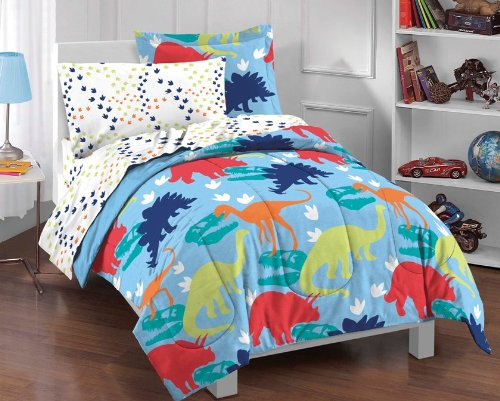 dream FACTORY Dinosaur Prints Boys Comforter Set, Multi-Colored, Twin - Dinosaur Twin Comforter