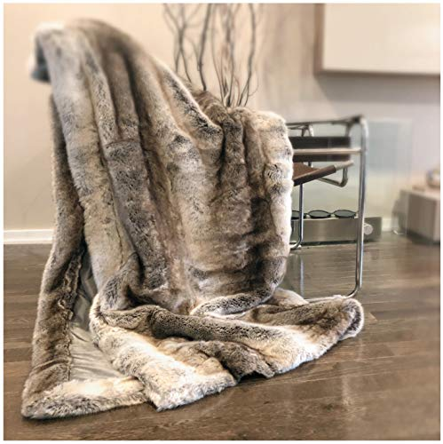 Luxury Faux Fur Throw Blanket Super Soft Oversized Thick Warm Afghan Reversible to Plush Velvet in Tan Grey Wolf, Cream Mink or Blush Chinchilla, Machine Washable 60 by 70 Inch (Tan Ombre)