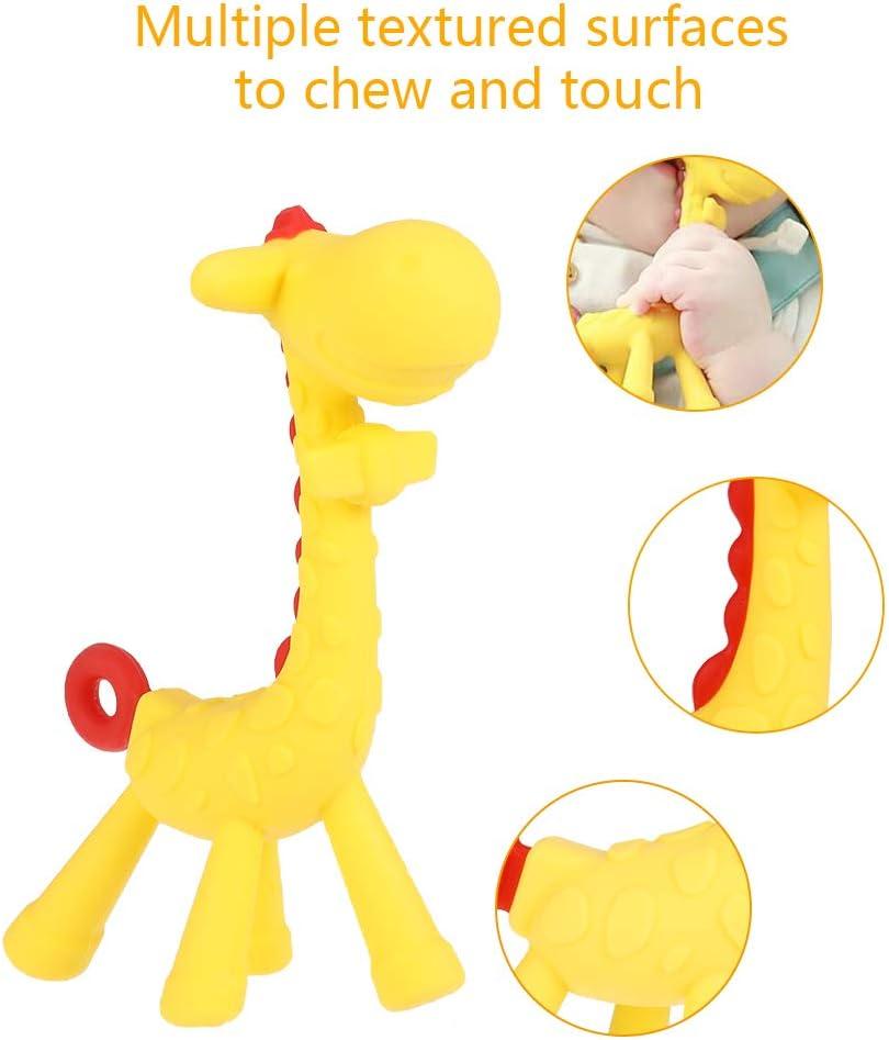 SUSSURRO 2pcs Anneaux de Dentition Silicone pour B/éb/é et Tout-Petit Soulagement de la Douleur /à la Dentition Jouet /à M/âcher en Forme de Girafe