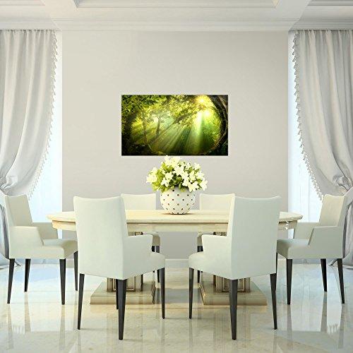 Bilder-Wald-Landschaft-Wandbild-Vlies-Leinwand-Bild-XXL-Format-Wandbilder-Wohnzimmer-Wohnung-Deko-Kunstdrucke-70-x-40-cm-Grn-1-Teilig-100-MADE-IN-GERMANY-Fertig-zum-Aufhngen-607114a