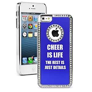 Apple iPhone 5 5S Blue 5S434 Rhinestone Crystal Bling Aluminum Plated Hard Case Cover Cheer Is Life