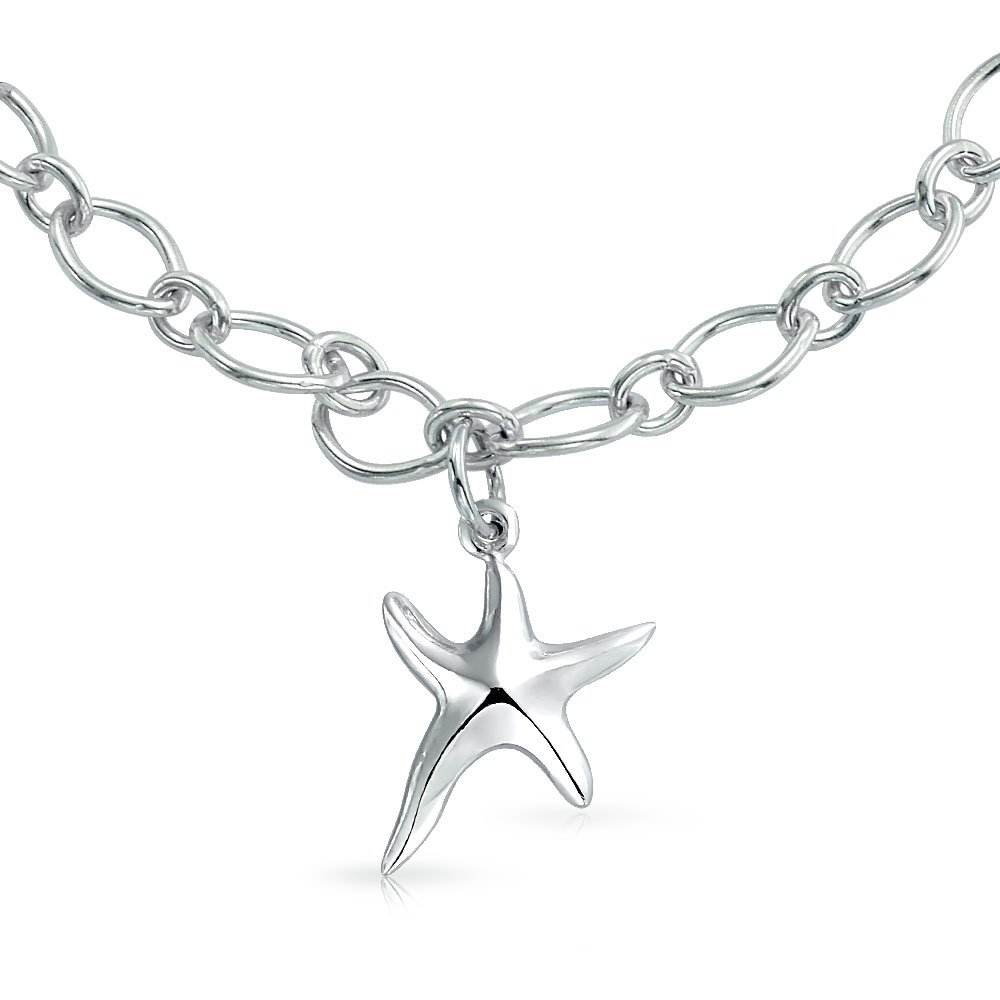 Nautical Tropical Beach Dangle Charm Open Chain Link Starfish Bracelet For Women For Teen 925 Sterling Silver