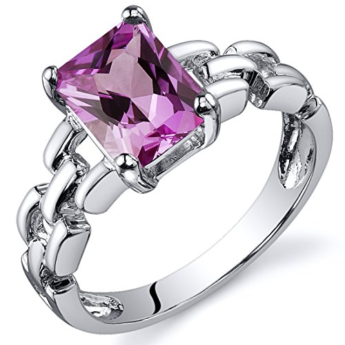 Created Pink Sapphire Ring Sterling Silver Chainlink Style 2.00 Carat Size 5