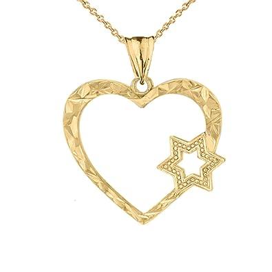 Amazon Fine 10k Yellow Gold Jewish Star Of David Heart Pendant