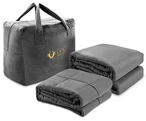 GnO Solutions Cooling Weighted Blanket - for All Seasons. with Finest 100% Bamboo Duvet Cover | 15 lbs - 60 X 80 inches | Premium Quality Gravity Blanket | Aids Sleep and Anxiety in Kids and Adults