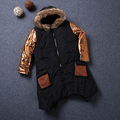 Outwear Jacket Zipper Warm Thick Cotton Down Hooded Black Girls' DaySeventh Baby wXZqzxF