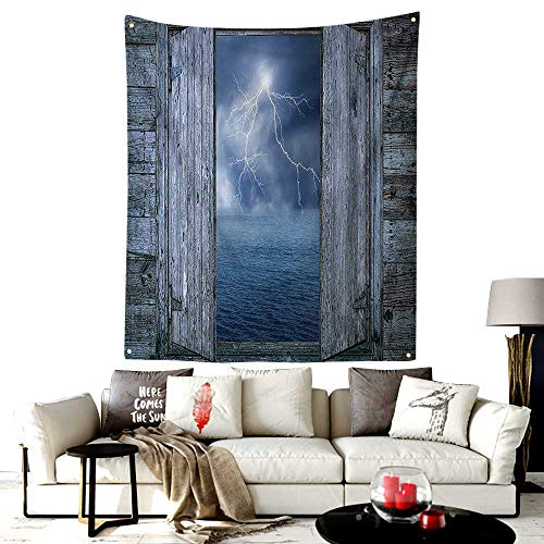 LOUTAN-Home Custom Mode Tapestry Makeup Bag,Lightning Bolt at Night from Window in A Seaside House Forces Nature Theme Decor,Bedroom Living Room Dorm Decor,50W X 60L Inches Blue -