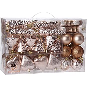 sea team 72 pack assorted shatterproof christmas balls christmas ornaments set decorative baubles pendants with
