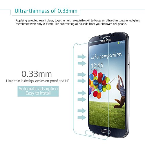 MAXAH® 2 Pack Samsung Galaxy S4 0.33mm Tempered Glass Screen Protector Film,2.5D Edge / 9H Hardness / 99.99% Clarity / Self-healing / Bubble-free Shield / Anti-scratch / Fingerprint Resistant / Explosion Proof / Silicone Adhesive / Oleophobic / Anti-glare / Matte / High Sensitivity / Completely Transparent / High Definition (HD).