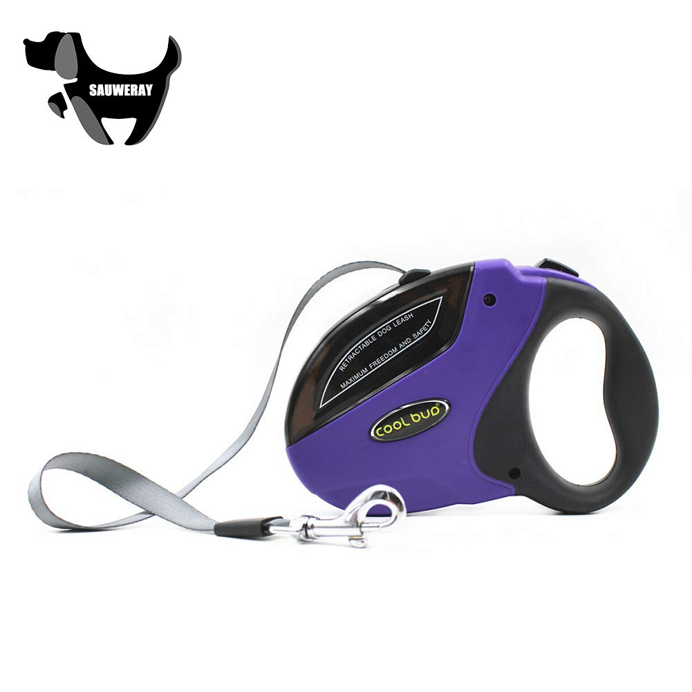SAUWERAY Heavy-Duty Retractable Dog Leash, Suitable for Small, Medium and Strong Nylon Webbing Up to 50Kg, 5M, Low Temperature Resistant Dog Leash,Purple,5m by SAUWERAY