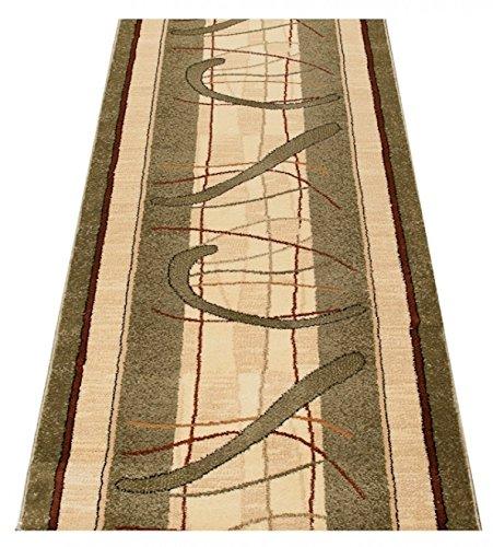 Tapiso Dorian Teppich Teppich Teppich Läufer Meterware Flur Küche Wohnzimmer Schlafzimmer Kurzflor Brücke Creme Grün Streifen Meliert ÖKOTEX 90 x 420 cm B07N1KKDQF Lufer a6bd7f