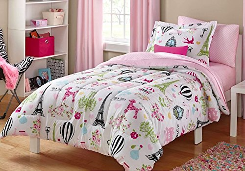Girls Full Pink White and Black Cute Parisian Bedding Set