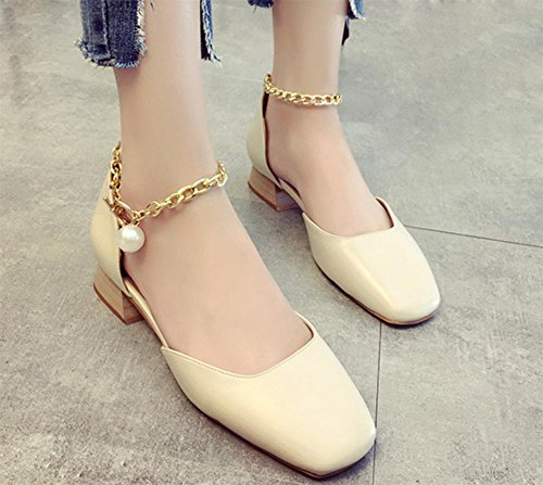 Sommer Sandalen mit niedrigen Absätzen Schuhe quadratischen Kopf rau mit den weiblichen Pantoffeln Sandalen weiblichen Perle Schuhe meters white