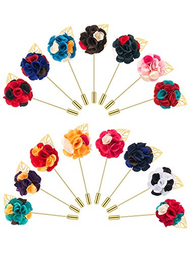 Pangda 15 Pieces Men's Lapel Pin Handmade Flower Boutonniere Set for Suit Wedding Groom, 15 Colors ()