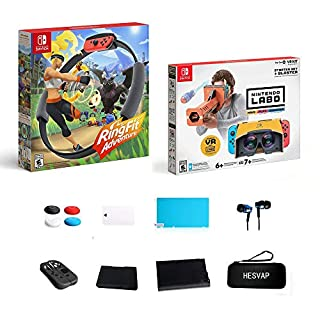 Nintendo Switch - Ring Fit Adventure, Nintendo Labo Toy-Con 04: VR Kit - Starter Set + Blaster w/69 Value HESVAP 13in1 Supper Kit Case