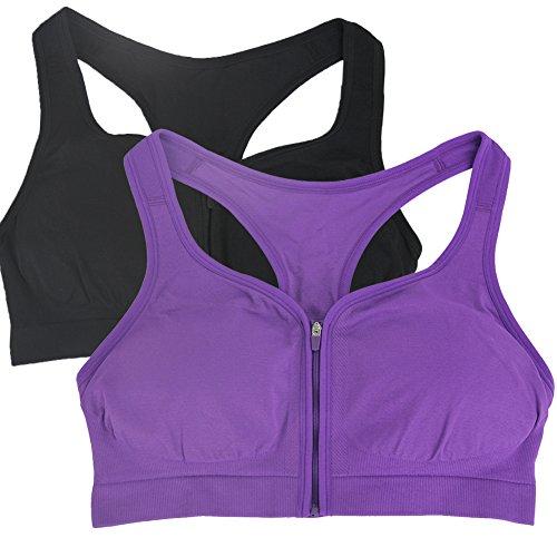 BollyQueena Women's Seamless Under Armour Sports Bra Push Up Racerback Running Yoga Bra Black&Purple L 2pack