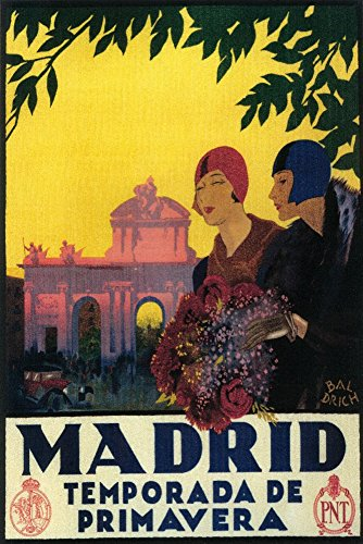 Madrid, Spain - Madrid in Springtime - Vintage Travel Advertisement (24x36 SIGNED Print Master Giclee Print w/ Certificate of Authenticity - Wall Decor Travel Poster) by Lantern Press