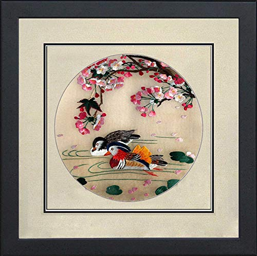 Silk Art 100% Handmade Embroidery Framed Two Birds on Tree and Branch For Home Modern Decoration and unusual gift for friends SilkArt014 (Trees Two Framed)