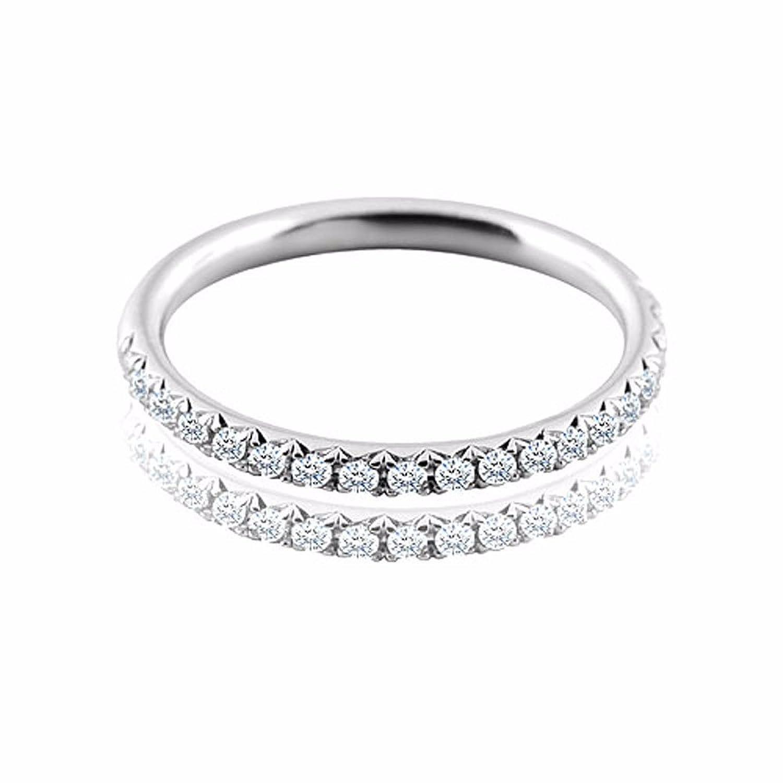 0 20ct diamond half way micro pave 14k white gold band