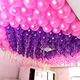 Evisha HD Big Size 50 pcs Metallic/Latex Purple and Pink Balloons , Theme Party, Party Decoration , Birthday Party Pack of 50 Balloons