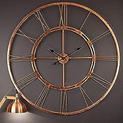 Decorlives 20 inch Copper Color Live Large Roman Wall Clock Handmade Wall Sculpture Art