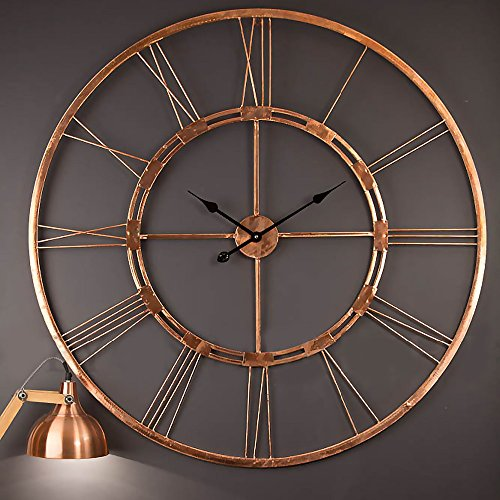 Handmade Large Copper Color Wall Clock Metal Wall Art Sculpture Wall Decor and Hanging (Copper 30 inch)
