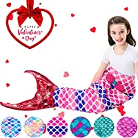 Mermaid Tail Blanket for Kids Girls Mermaid Blanket...