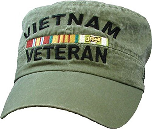 Vietnam Veteran Flat Top OD Green Low Profile Cap (Cap Orange Military)
