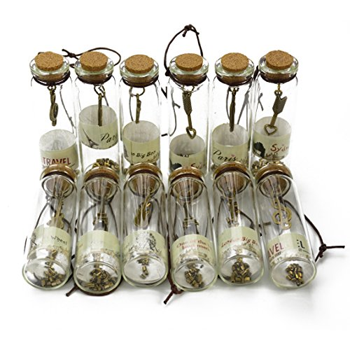 Makhry 12pcs Vintage Retro Clear Glass Wishing Bottles  with Cork Stoppers and antique bronze metal Pendants Inside for Birthday Gift Wedding Party Favors