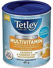 Tetley Super Herbal Tea Multivitamin: Camomile & Turmeric with 7 Vitamins   Camomile Tea with Vitamins   Daily Herbal Tea   Contains Vitamin C, Vitamin E, and a range of B Vitamins   Caffeine Free   20 tea bags