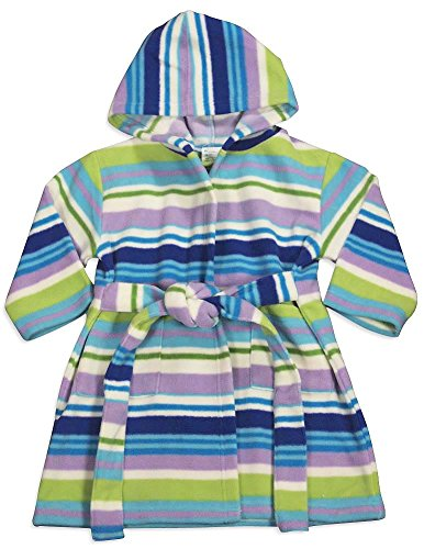 Pegasus - Baby Girls Hooded Fleece Striped Robe, Violet, Lavender, Blue 32889-12-18Months