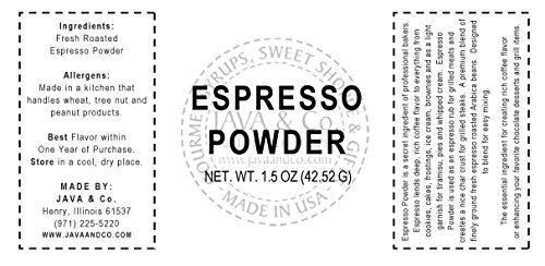Espresso Powder by JAVA & Co., French Square Glass Bottle