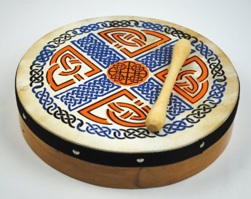 10'' Irish Celtic Pattern Original Bodhran + Beater by Pro Kussion