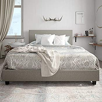 Carley Upholstered Linen Bed, Grey, Full